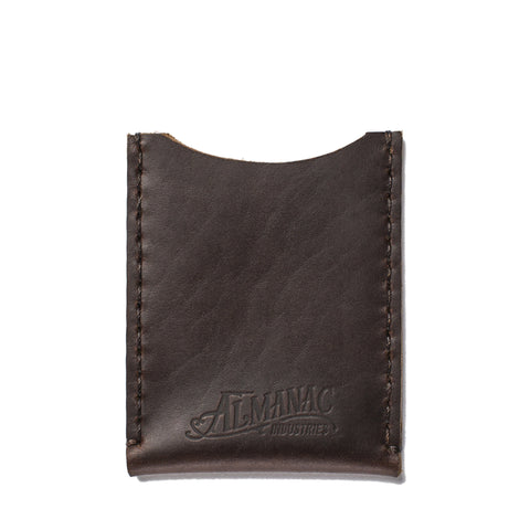 almanac flat card case brown brown stitch