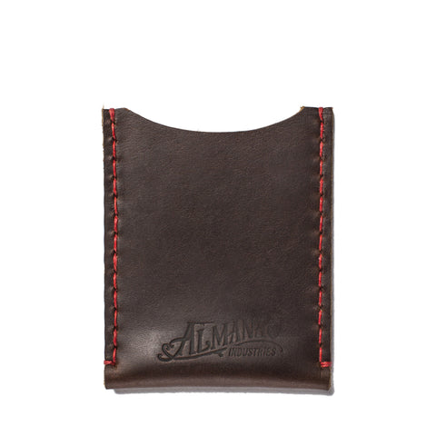 almanac flat card case brown red stitch
