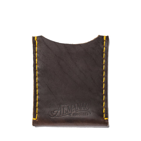 almanac flat card case brown yellow stitch