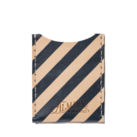 almanac flat card case raw navy stripes