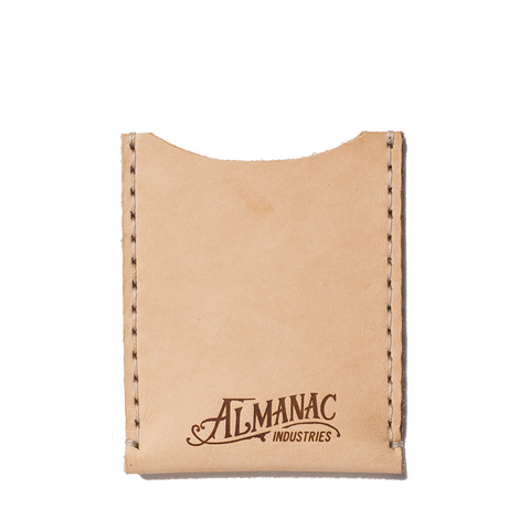 almanac flat card case raw white stitch