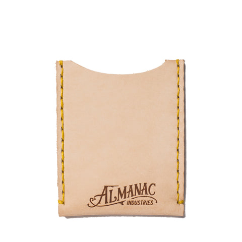 almanac flat card case raw yellow stitch