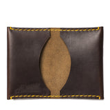 almanac folded card case brown yellow stitch