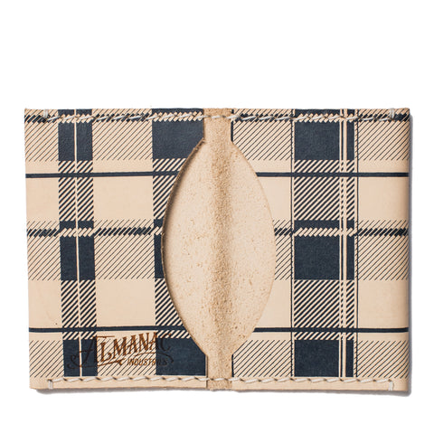 almanac folded card case raw navy plaid