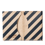 almanac folded card case raw navy stripes