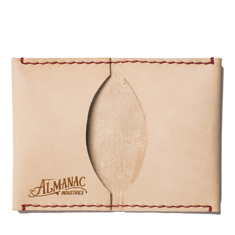 almanac folded card case raw red stitch