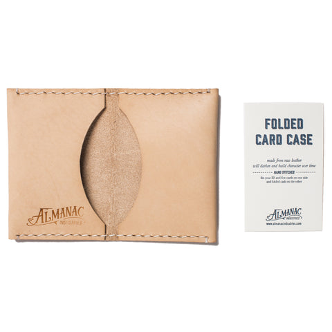 almanac folded card case raw white stitch detail
