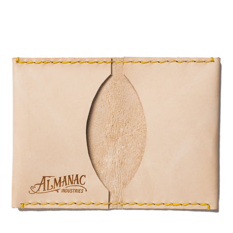 almanac folded card case raw yellow stitch