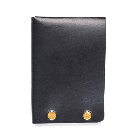 american bench craft brass riveted leather half wallet black back