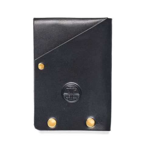 american bench craft brass riveted leather half wallet black front