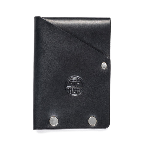 american bench craft steel riveted leather half wallet black front