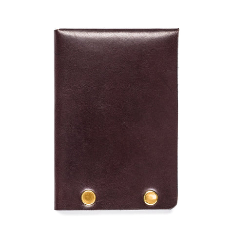 american bench craft brass riveted leather half wallet brown back
