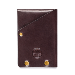 brass riveted leather half wallet