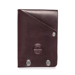 steel riveted leather half wallet