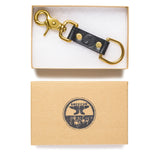 american bench craft brass riveted leather key fob black in box