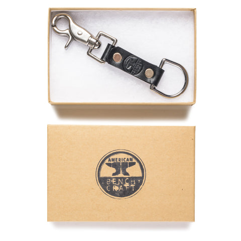 american bench craft steel riveted leather key fob black in box