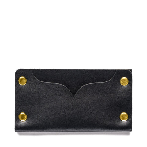 american bench craft brass riveted leather cardholder black back