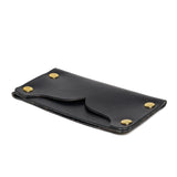 american bench craft brass riveted leather cardholder black side