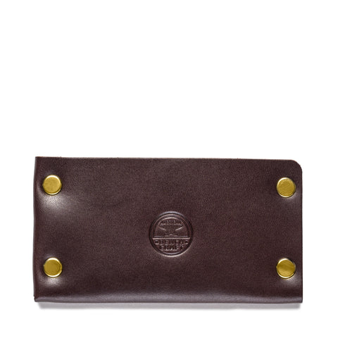 american bench craft brass riveted leather cardholder brown front
