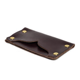american bench craft brass riveted leather cardholder brown side