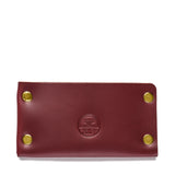 american bench craft brass riveted leather cardholder red front