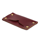 american bench craft brass riveted leather cardholder red side