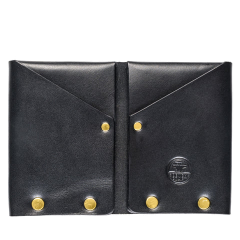 american bench craft brass riveted leather wallet black front