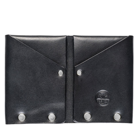 american bench craft steel riveted leather wallet black front