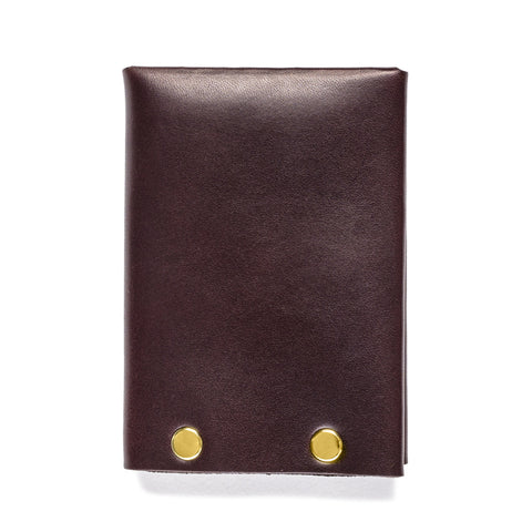 american bench craft brass riveted leather wallet brown back
