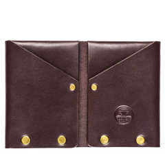 brass riveted leather wallet