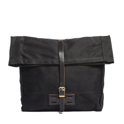 archival roll top messenger ranger black front without strap