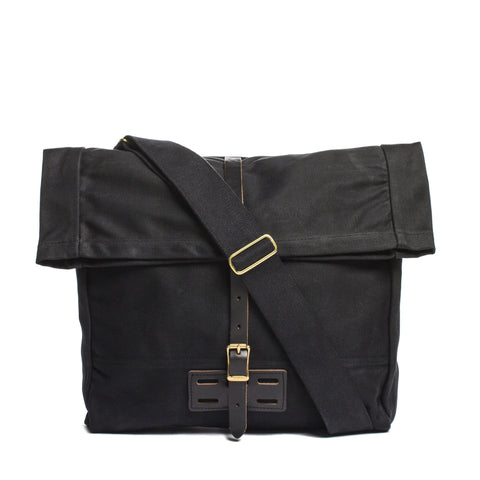 archival roll top messenger ranger black front with strap