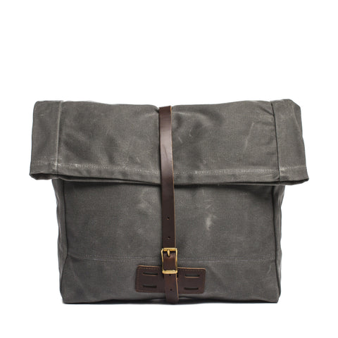 archival roll top messenger ranger gray front without strap