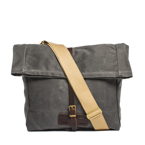 archival roll top messenger ranger gray front with strap