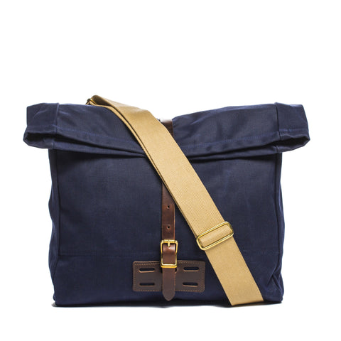 archival roll top messenger ranger navy front with strap