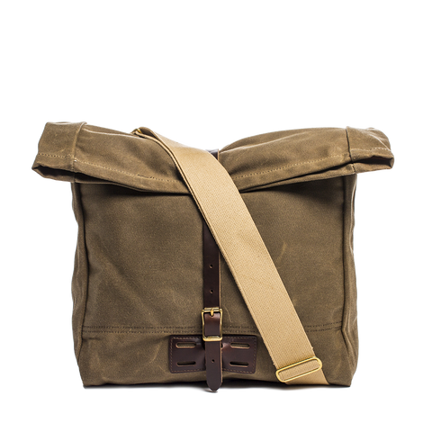 archival roll top messenger ranger tan front with strap