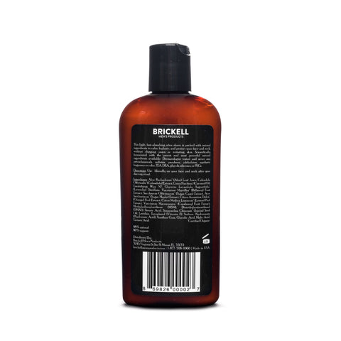 brickell instant relief aftershave back label
