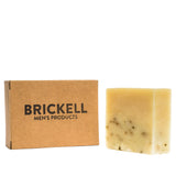 brickell mint soap scrub bar front with package