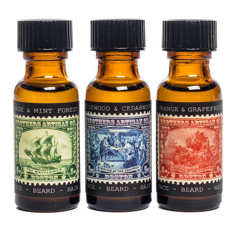 brothers artisan oil beard oil trio bottles