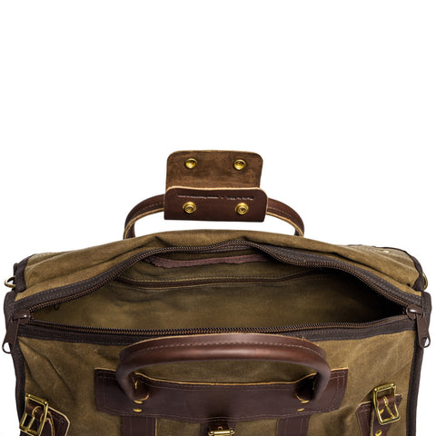 frost river overland valise weekender front unzipped