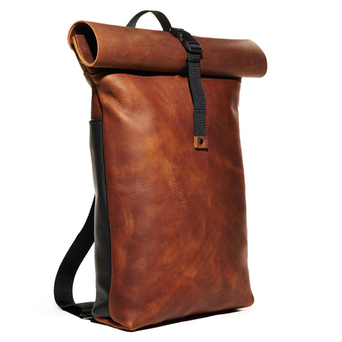 Craft & Caro x LTHR Supply Ruckpack bourbon front left angle