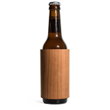 prink cherry wood bottle koozie front with bottle