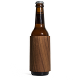prink walnut wood bottle koozie front with bottle