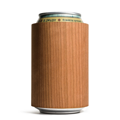 prink cherry wood can koozie front with can