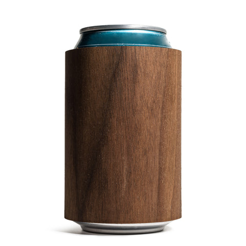 prink walnut wood can koozie front with can