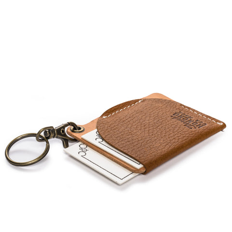 thread honcho keychain cardholder brown angle