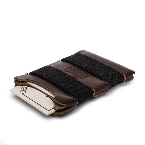thread honcho elastic band wallet brown angle