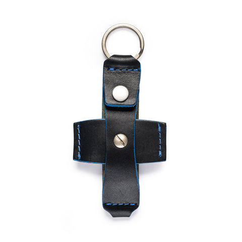 thread honcho flip key fob card holder black open front empty
