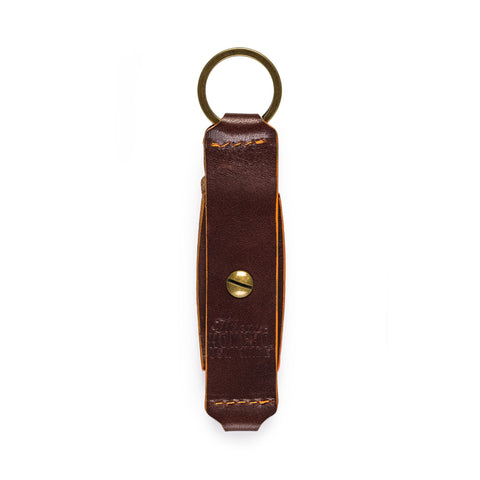 thread honcho flip key fob card holder brown closed back