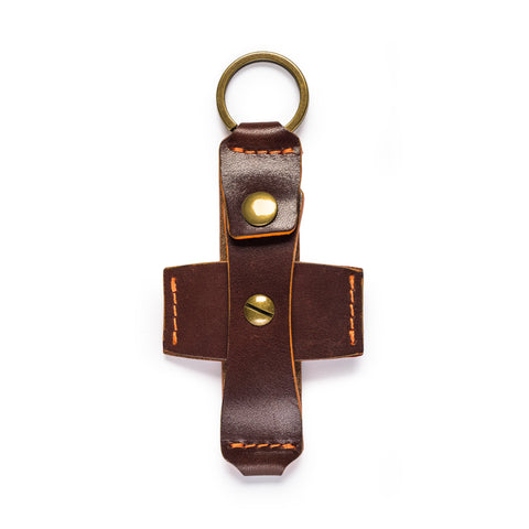 thread honcho flip key fob card holder brown open front empty